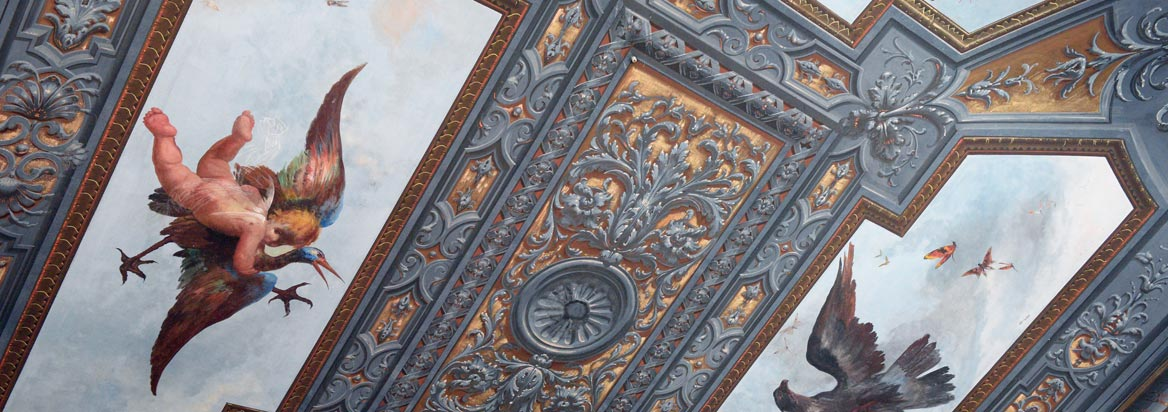 Frescoed ceilings of the rooms